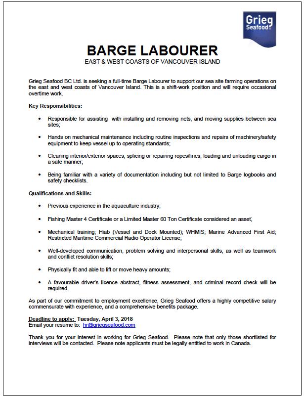 Grieg Seafood Job Opportunities – Gold River Buzz