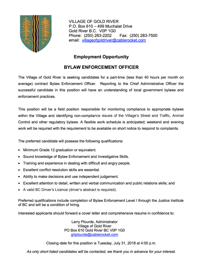 Job Opportunities-Village of Gold River – Gold River Buzz